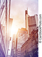 office buildings - Street in the financial district of...