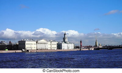 Granite Neva river with Kunstkamera at the distance - Neva...