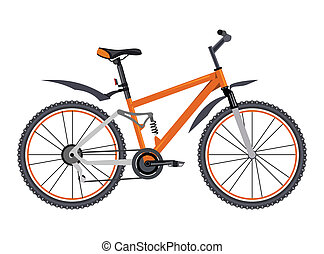 Bicycle - Orange bicycle on white background
