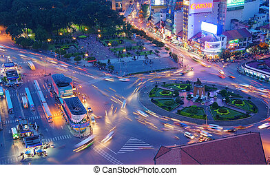 Asia traffic, roundabout, Ben Thanh bus stop - HO CHI MINH,...