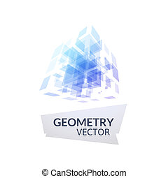 Cube geometry construction icon purple blue symbol isolated...