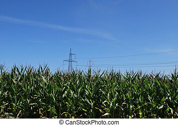 Power Lines in peaseful setting - High voltage electricity...