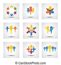 crianças, ícones, pessoas, vetorial, desenho, comunidade,...