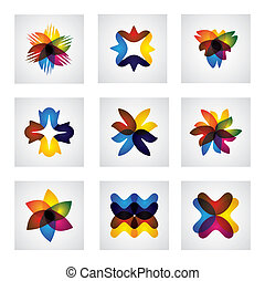 abstract floral or flower element design vector icons. This...