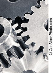 Gears - Industrial metal gears and machine parts connected