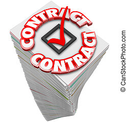 Contract 3d Word Paperwork Stack Pile Documents Official Files S
