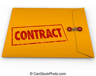Contract Stamped Word Yellow Envelope Official Papers Deal...