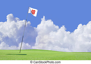 Golf course flag at hole 18 - 18th hole and flag on a golf...