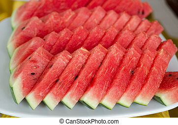 Slice of watermelon on a plate