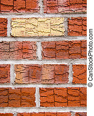 Single brick in brick wall - Single pale brick amongst red...