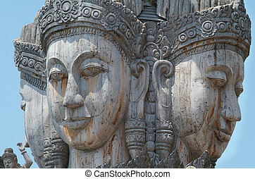 Details of wooden temple in Pattaya, Thailand - Heads of...