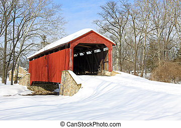 Covered Bridge in Snow - Pool Forge Covered Bridge with snow...