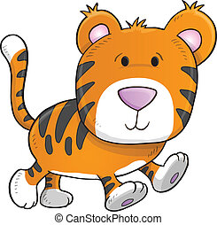 Cute Tiger Vector Illustration Art