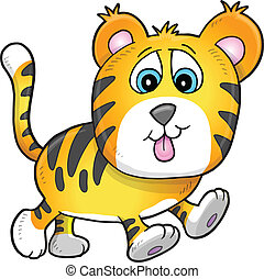 Cute Tiger Cub Vector Illustration