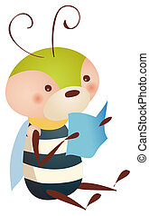 bee reading book - illustration drawing of a lovely bee...