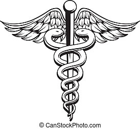 Caduceus Converted - Medical Caduceus black and white