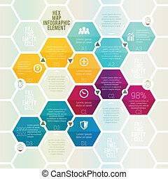 Hex Map Infographic - Vector illustration of hex map...