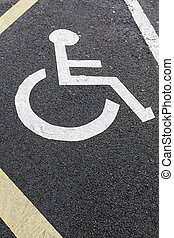 Handicapped sign on asphalt