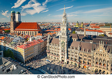 Aerial view on the historic center of Munchen - Aerial view...