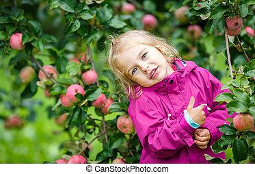 Little girl in the apple garden - Little girl staying under...