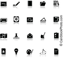 Writing related icons with reflect on white background,...