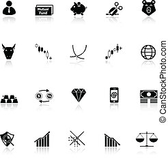 Stock market icons with reflect on white background, stock...