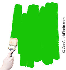 marketing paint brush - hand holding a painting brush...