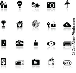 Insurance sign icons with reflect on white background, stock...