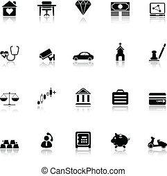Insurance related icons with reflect on white background,...