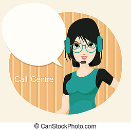 Call centre - Female call center employee with a yellow...