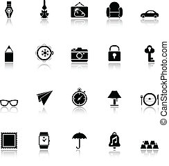 Vintage collection icons with reflect on white background