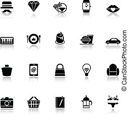 Department store item category icons with reflect on white...