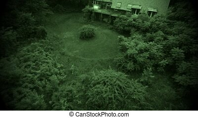 Aerial old abandoned house - In air flight above wooden...