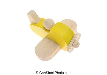 Toy Wooden Plane - A close up shot of a toy wooden plane