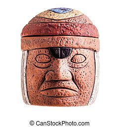 Olmec Face - a terracotta olmec face idol souvenir isolated...