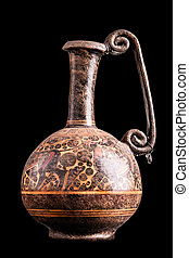Greek vase - Ancient greek vase isolated over a black...