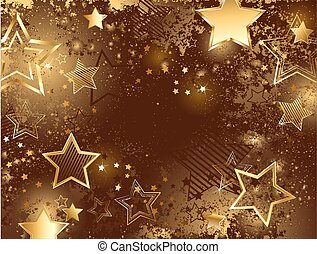 brown background with golden stars