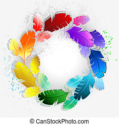 Circle of rainbow feathers - circle of bright rainbow...