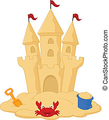 Sand castle cartoon - vector illustration of Sand castle...