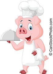 Happy Pig Chef Holding A Platter - vector illustration of...