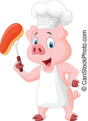 Pig Chef with roasted steak - vector illustration of Pig...