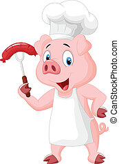 Pig Chef Cartoon With Sausage On Fo - vector illustration of...