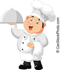 Chef holding a metal food platter - vector illustration of...