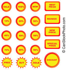 Set of color price tags