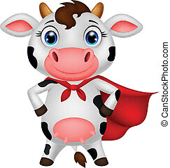 Superhero cow cartoon posing - vector illustration of...