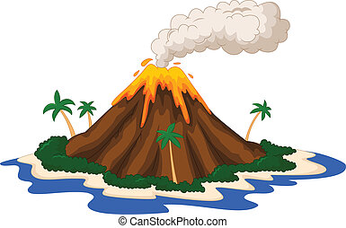 Volcanic island - vector illustration of Volcanic island