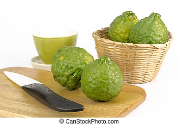 Bergamot - Image of bergamot with wooden cutting board and...