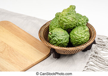 Bergamot - Image of bergamot in bamboo woven with wooden...