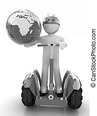 3d white person riding on a personal and ecological...