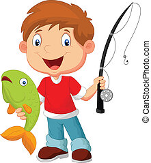 Little boy fishing - vector illustration of Little boy...